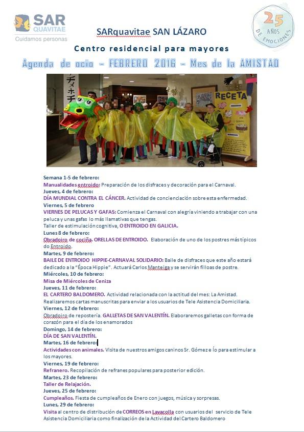 Agenda de Febrero SARquavitae San Lázaro
