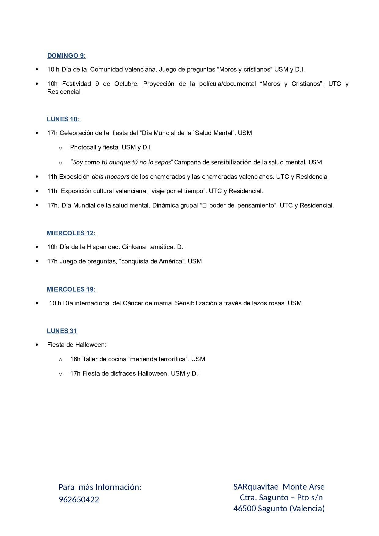 Agenda Octubre 2