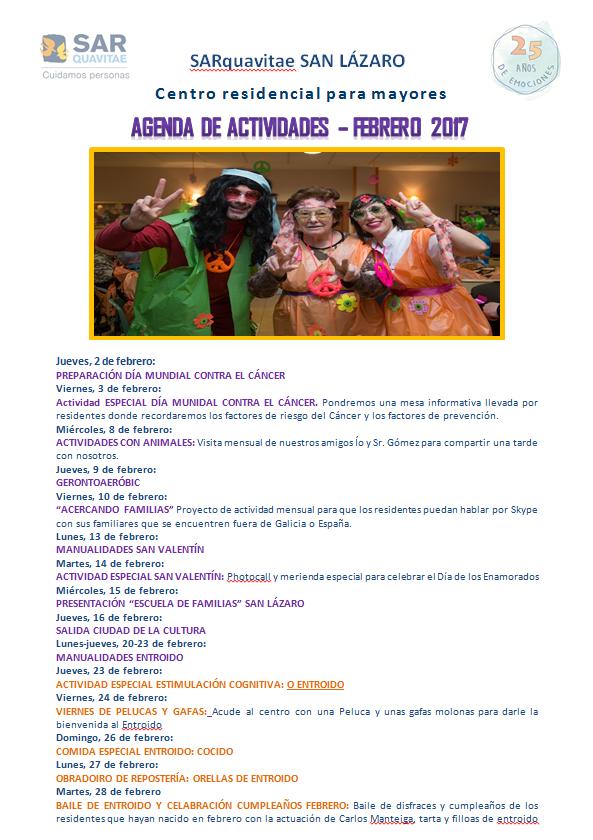 Agenda de Actividades Febrero 2017 SARquavitae San Lázaro 1