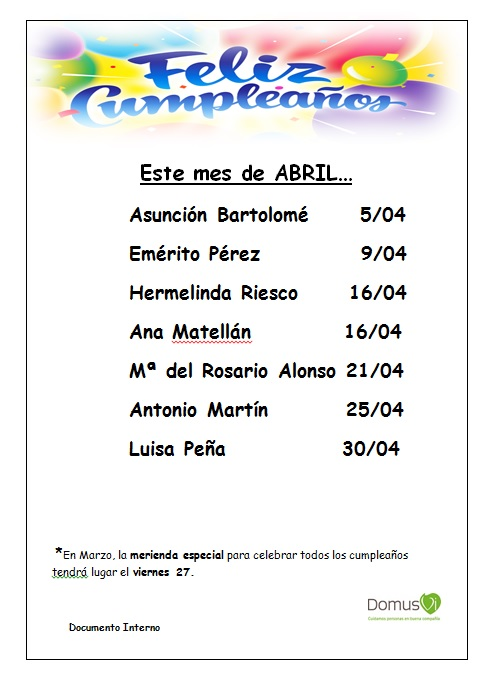 Cumpleaños de residentes en Zamora