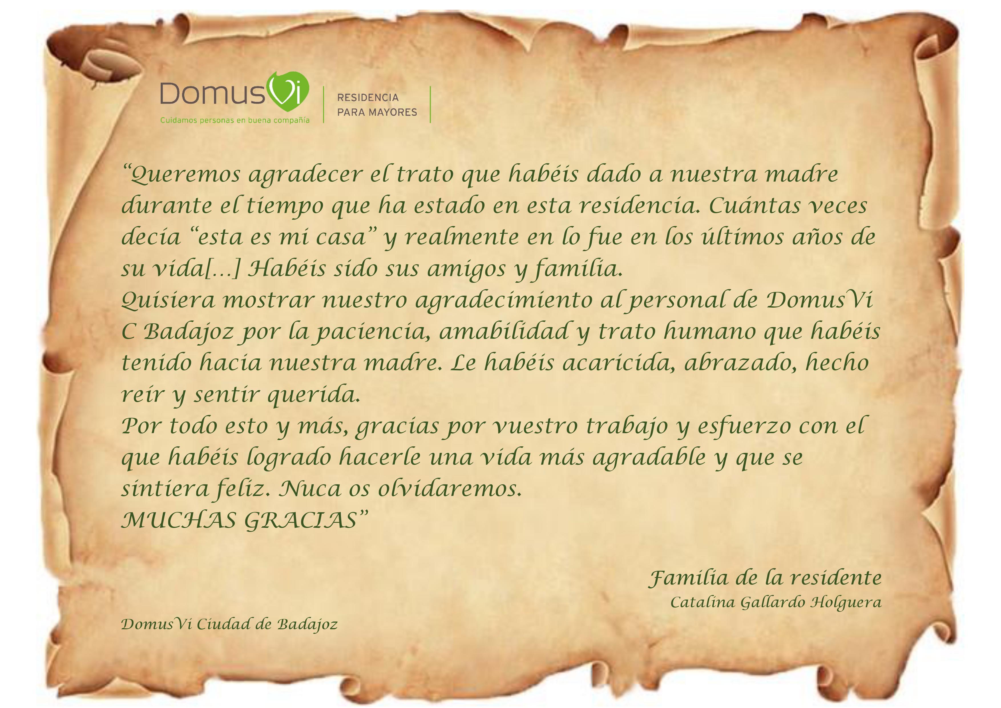 Agradecimiento residencia para mayores Badajoz