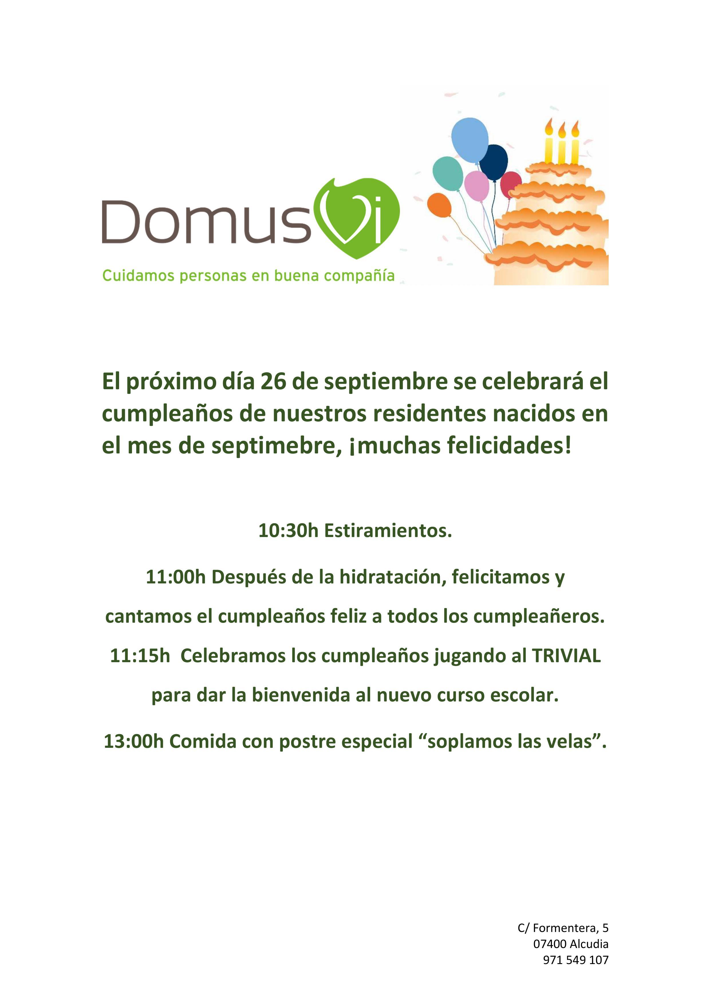 Celebración Cumpleaños Septiembre Residencia Y Centro De Día De