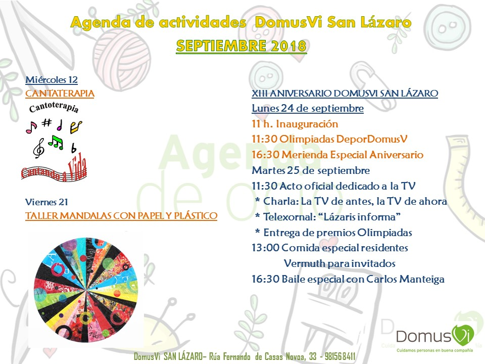 Agenda de Actividades Septiembre DomusVi 2018
