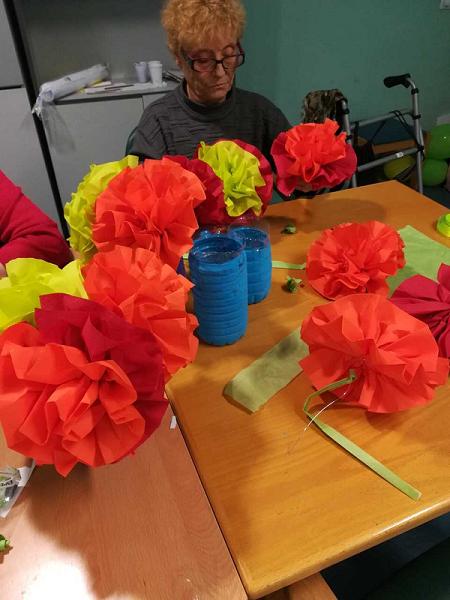 Flores con servilletas