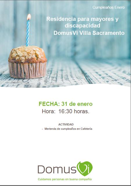 Merienda cumpleaños mesa de Enero 2019 en la Residencia de Mayores DomusVi Villa Sacramento.